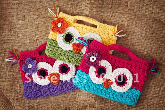 20pcssoooo Cute Crochet Owl Pursecrochet Knitting Cartoon Wallet