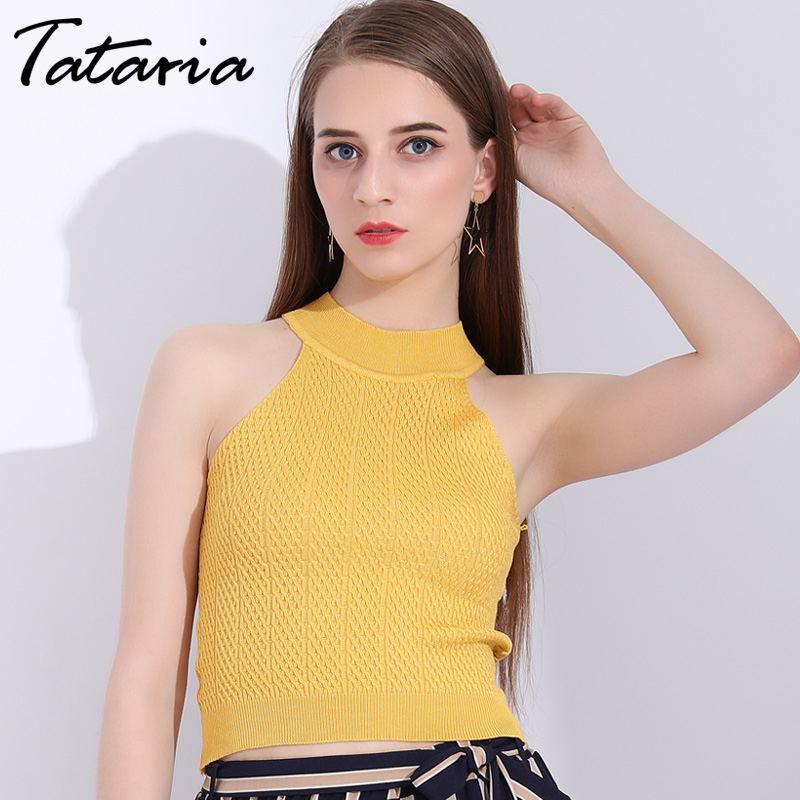 Tataria Halter Neck Top Cropped For Women Seleeveless Sexy Tanks Tops Off Shoulder Halter Neck Summer Knitted Tank Tops Female