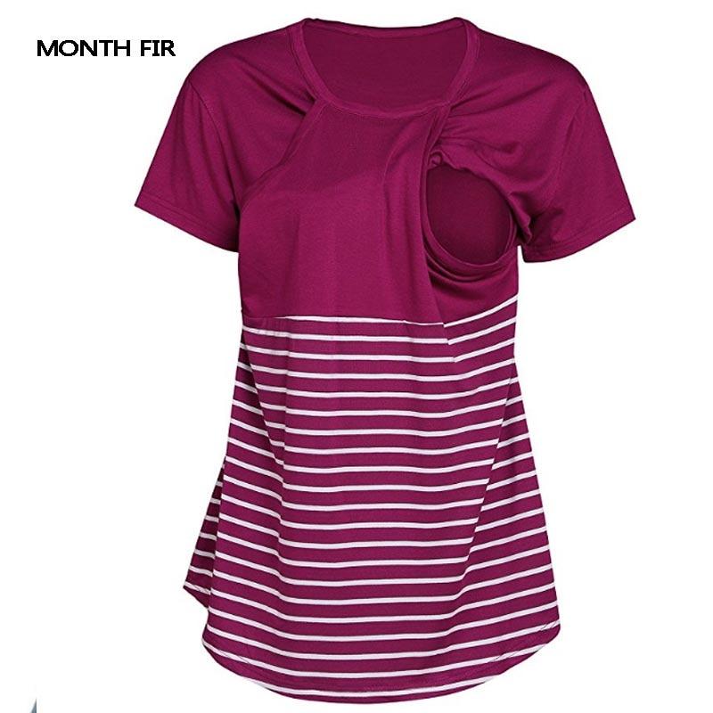 8d1de9839ba Stripe Breast feeding Tees Maternity Clothes For Pregnant Women Tees Tops  Feeding Pregnancy Nursing T shirts