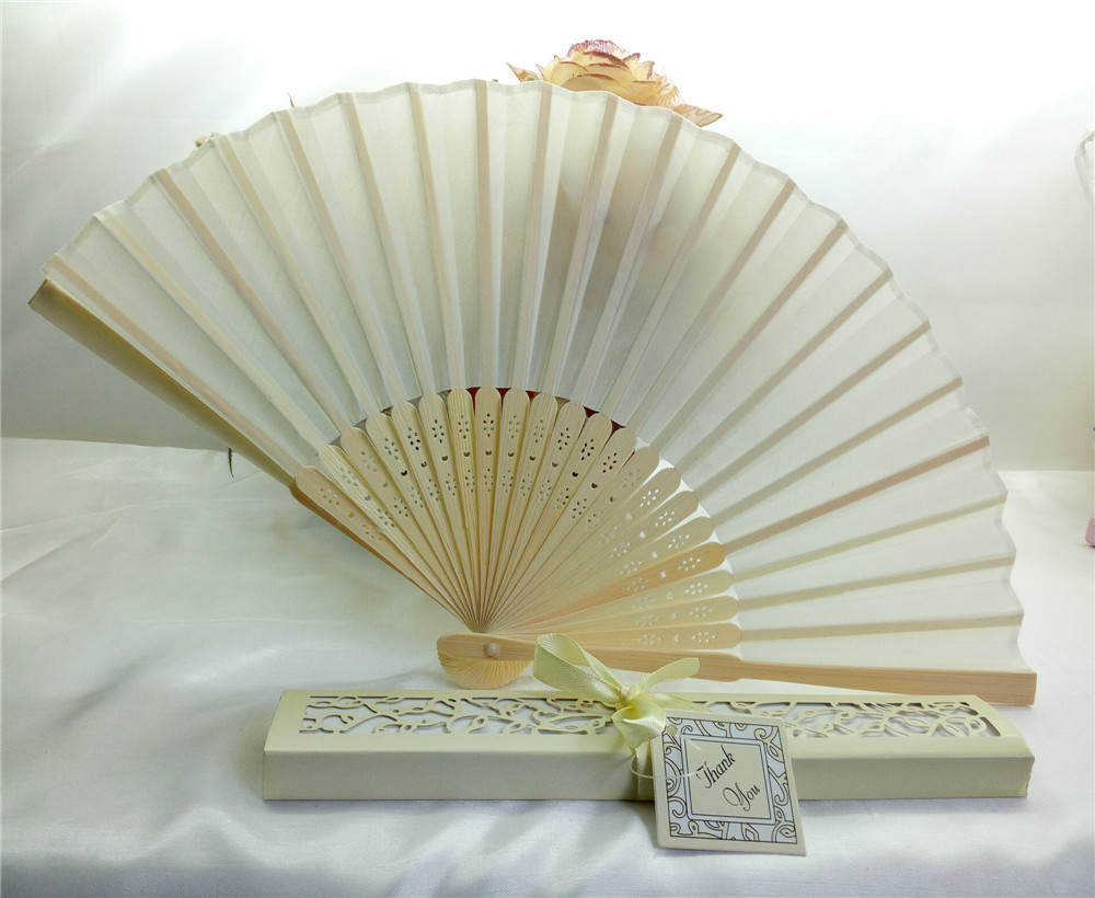 Free Shipping 1000pcs/Sets Luxurious Silk Fold Hand Fan In Elegant Gift Box Party Favors/wedding Gifts TO USA
