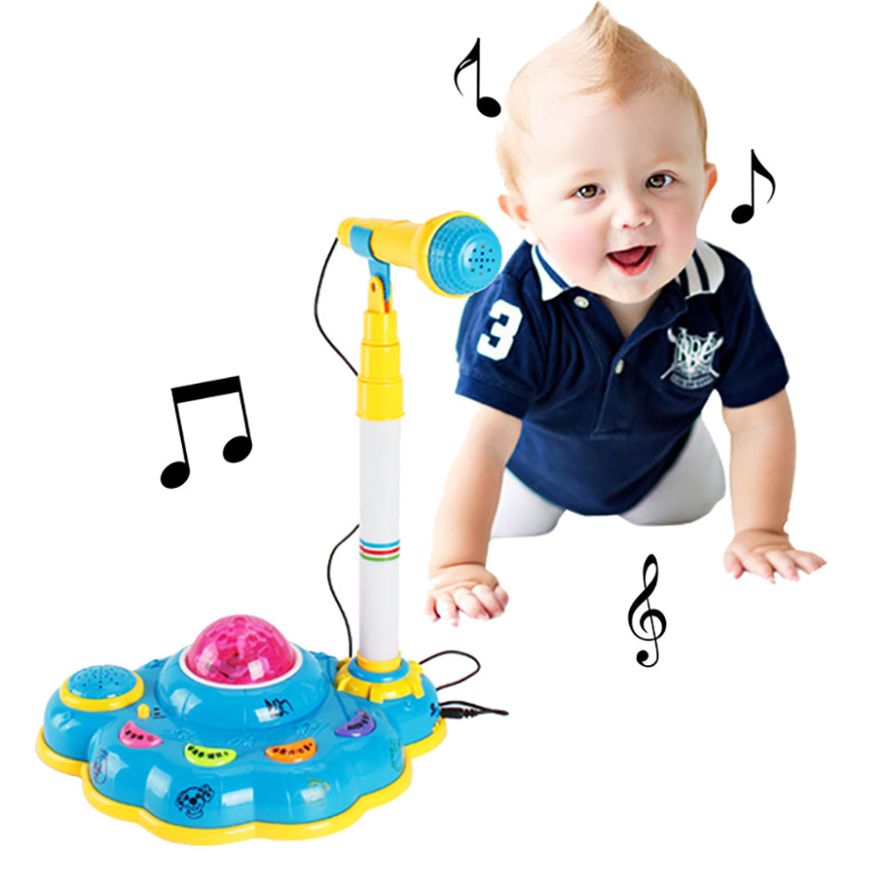 Unisex Kids Karaoke Microphone instrument toy Microphones for Singing with Stand with Light Effect Children's microphone &s