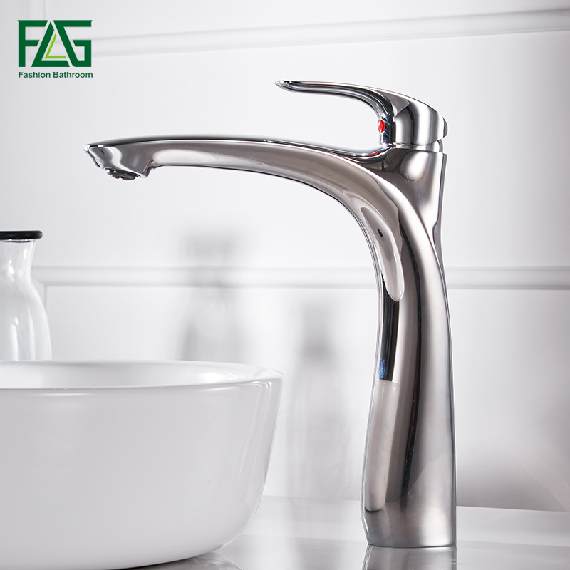 FLG Chrome basin faucet brass mixer Bathroom sink faucet Deck Mount Bath taps Faucet Water Sink