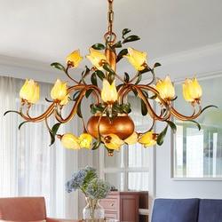 Piękne szkło kwiat żelazny żyrandol. Kreatywny liści żelaza lampa wisząca kryty spadek światła oświetlenie domu
