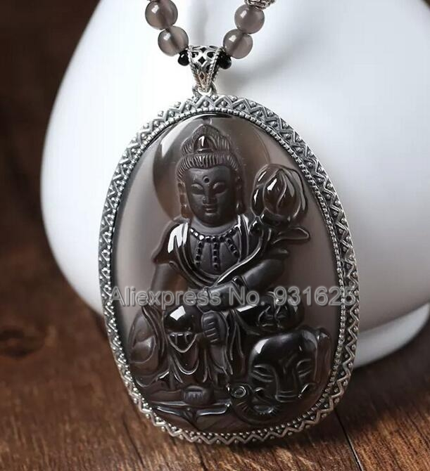 925 Sterling Silver 63x45mm Natural Ice Obsidian Carved PuXian Buddha Amulet Lucky Pendant + Beads Necklace Fashion Jewelry 8 china silver fine workmanship carved lucky money happy buddha on fish statue d0426