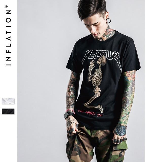 bc4ce1b4 Yeezus Tour Short Sleeve T-shirt Skull Ghost Merch Indian Headdress T Shirt  Tee Kanye West Clothing