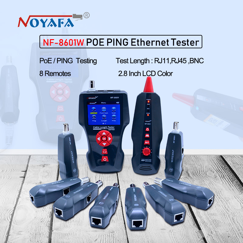 New NF-8601W Multi-functional Network Cable Tester LCD Cable length Tester Breakpoint Tester English version NF_8601W noyafa nf 8601 multi functional network cable tester lcd cable length meter breakpoint tester rj45 telephone line checker eu