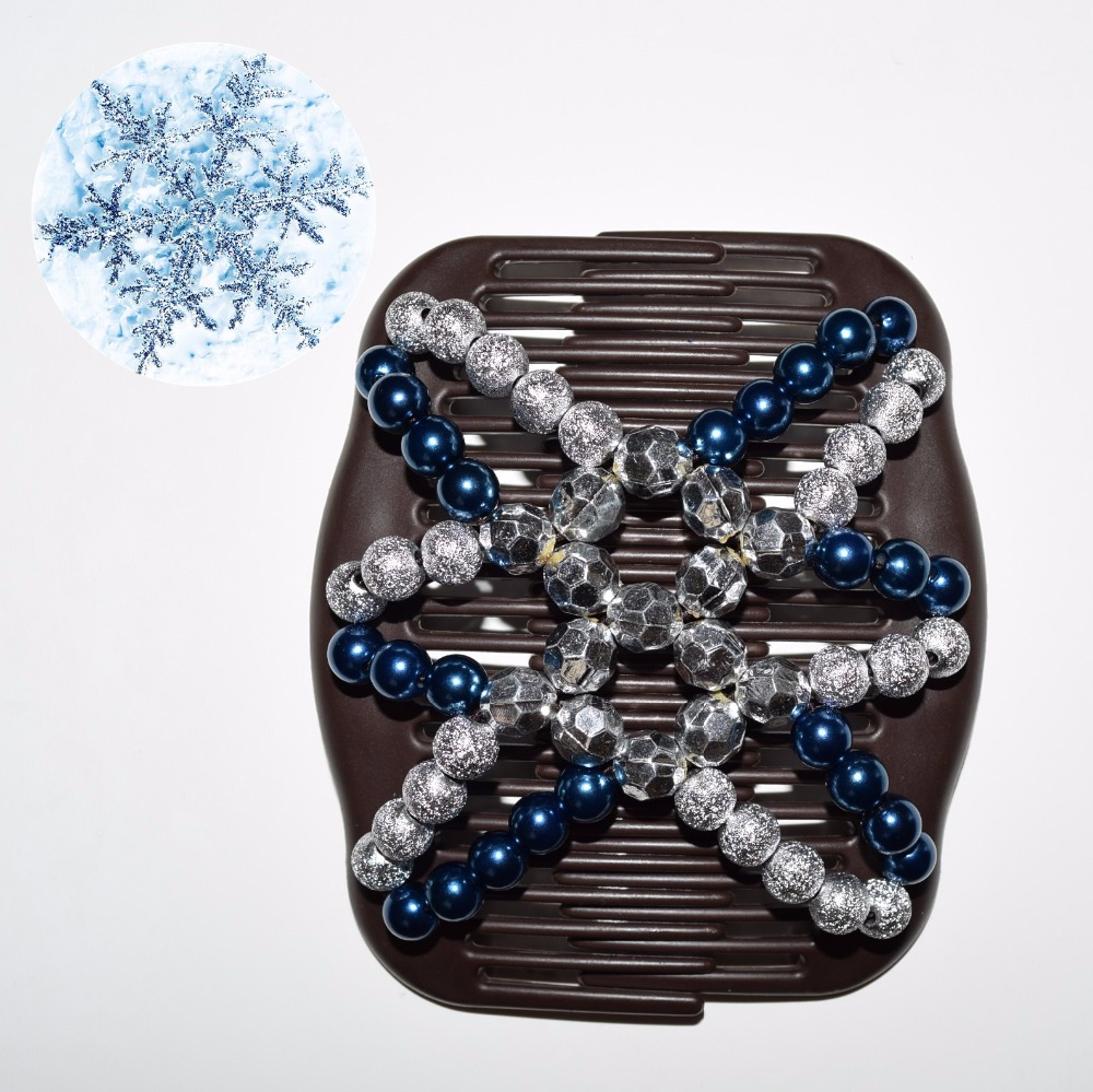 2018 20pcs/lot fashion blue silver beads beautiful luxury new year magic comb