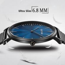 Ultra Delgado de 6.8mm de Espesor de Estilo Simple de Los Hombres de Cuarzo Relojes de Marca de Lujo Fine Mess Milanés Banda Unisex Vestido de La Manera reloj