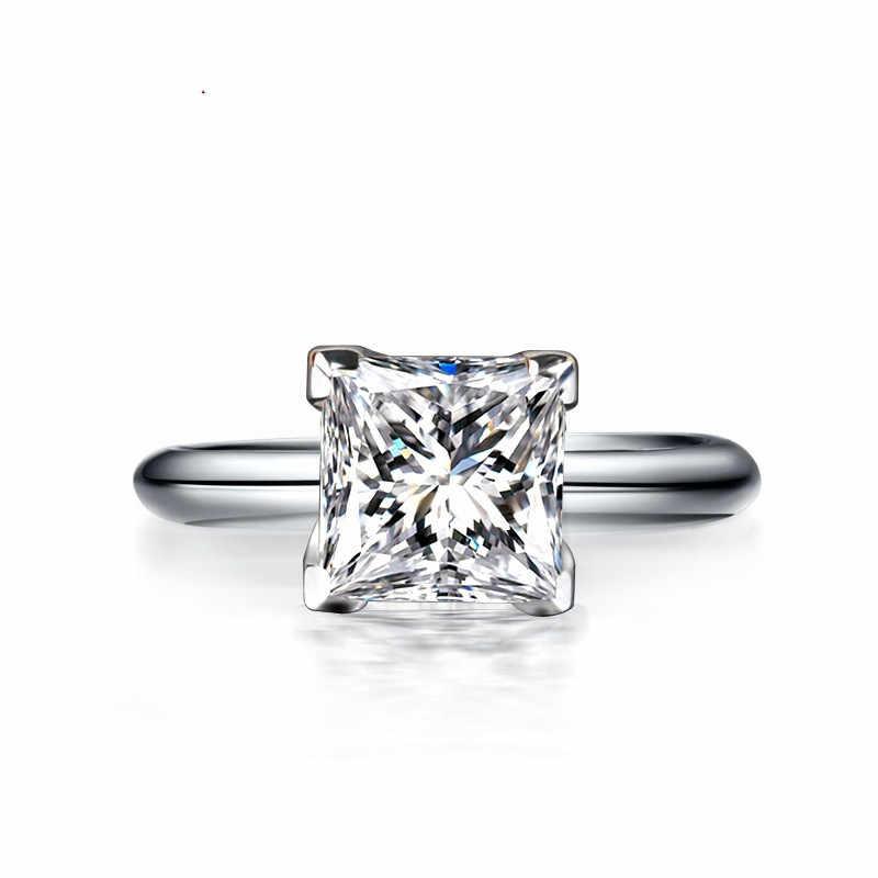 Choucong классическое 100% Настоящее 925 пробы Серебряное кольцо Принцесса огранка 1ct AAAAA Циркон Обручальное кольцо кольца для мужчин и женщин