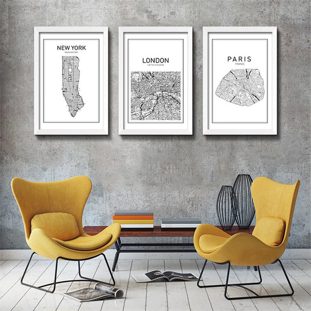 black white art map world city canvas art painting poster new york city wall picture