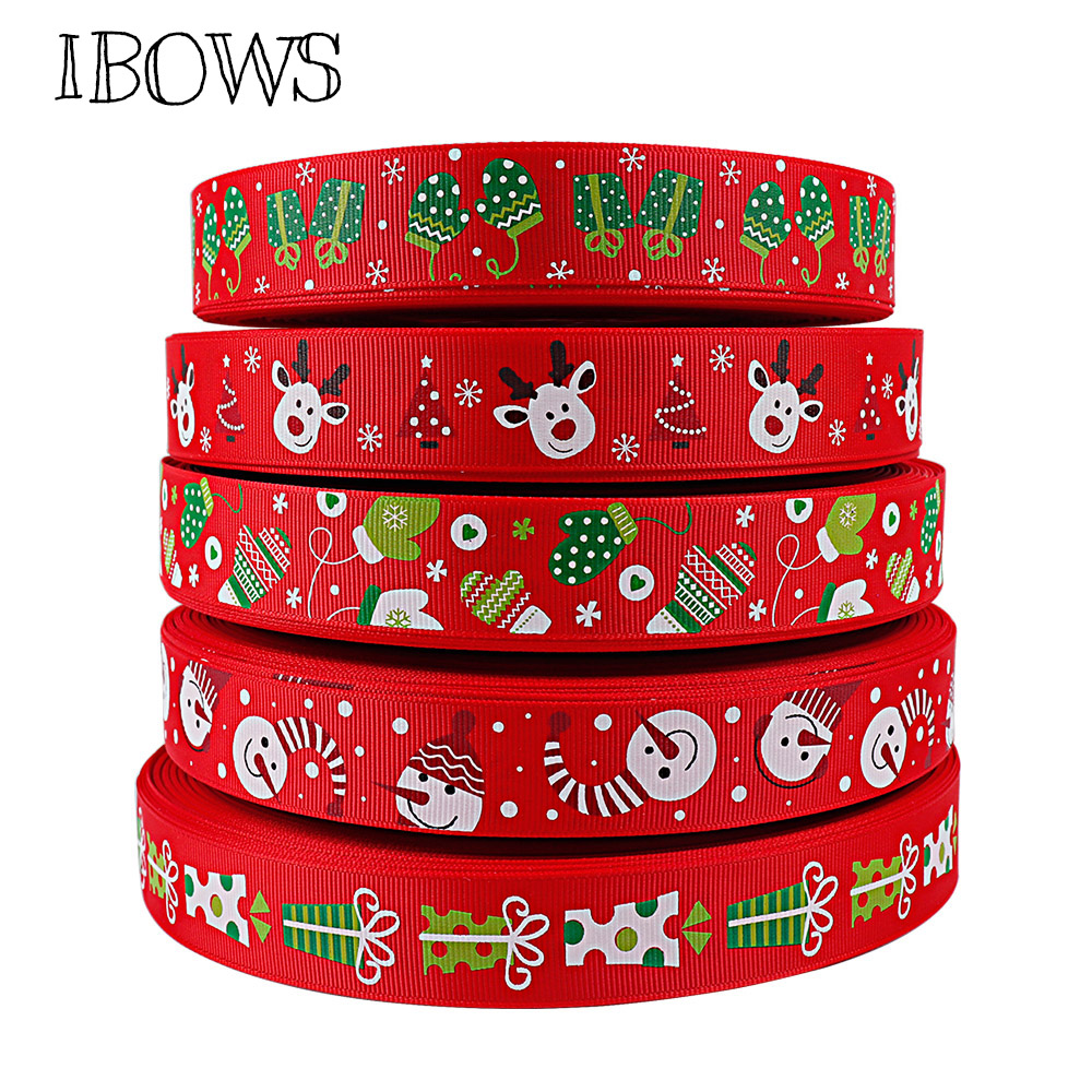 5Y/lot 25mm Grosgrain Ribbon Merry Christmas Ribbon DIY Hairbows Accessories Materials Festival Party Decoration Gift Package
