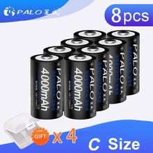PALO Battery 8Pcs 1.2v Rechargeable C Size High Capacity 4000mAh NI-MH Batteries