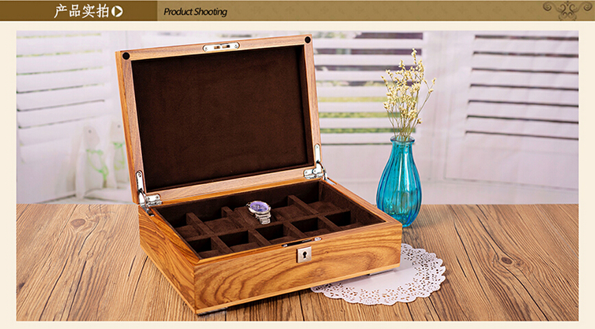 luxury 10 grid original African pear wood watch storage box brand wooden watches trinket jewelry gift