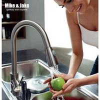 Pull out kitchen spray mixer Baushed nickel kitchen faucet Single lever kitchen sink taps