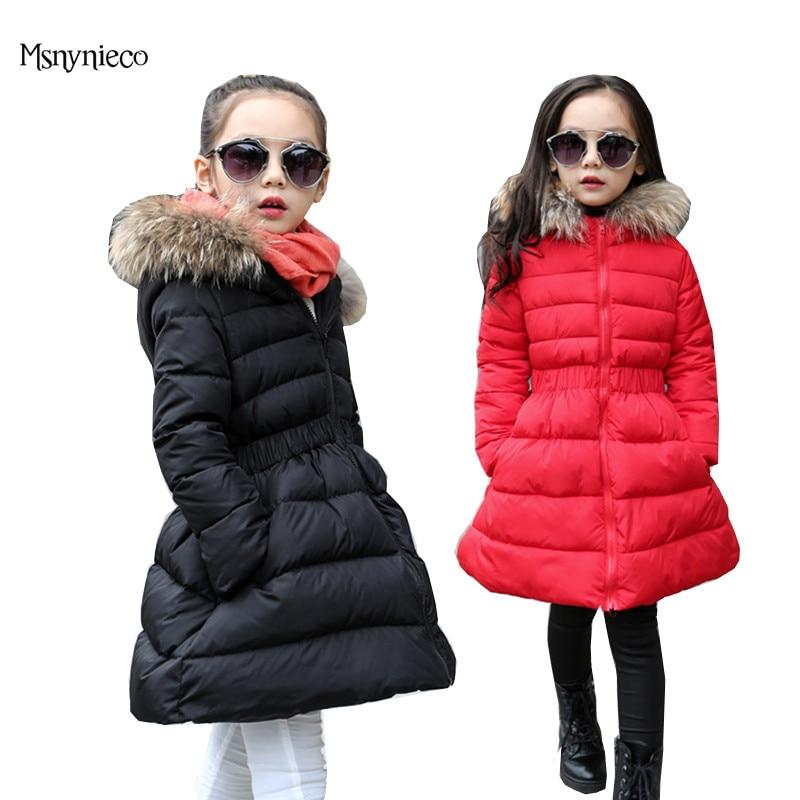 Girls Winter Coat Outerwear Warm Long Thick Hooded Kids Jacket for Girls 2017 Fashion Teenage Girls Parkas Children Clothing