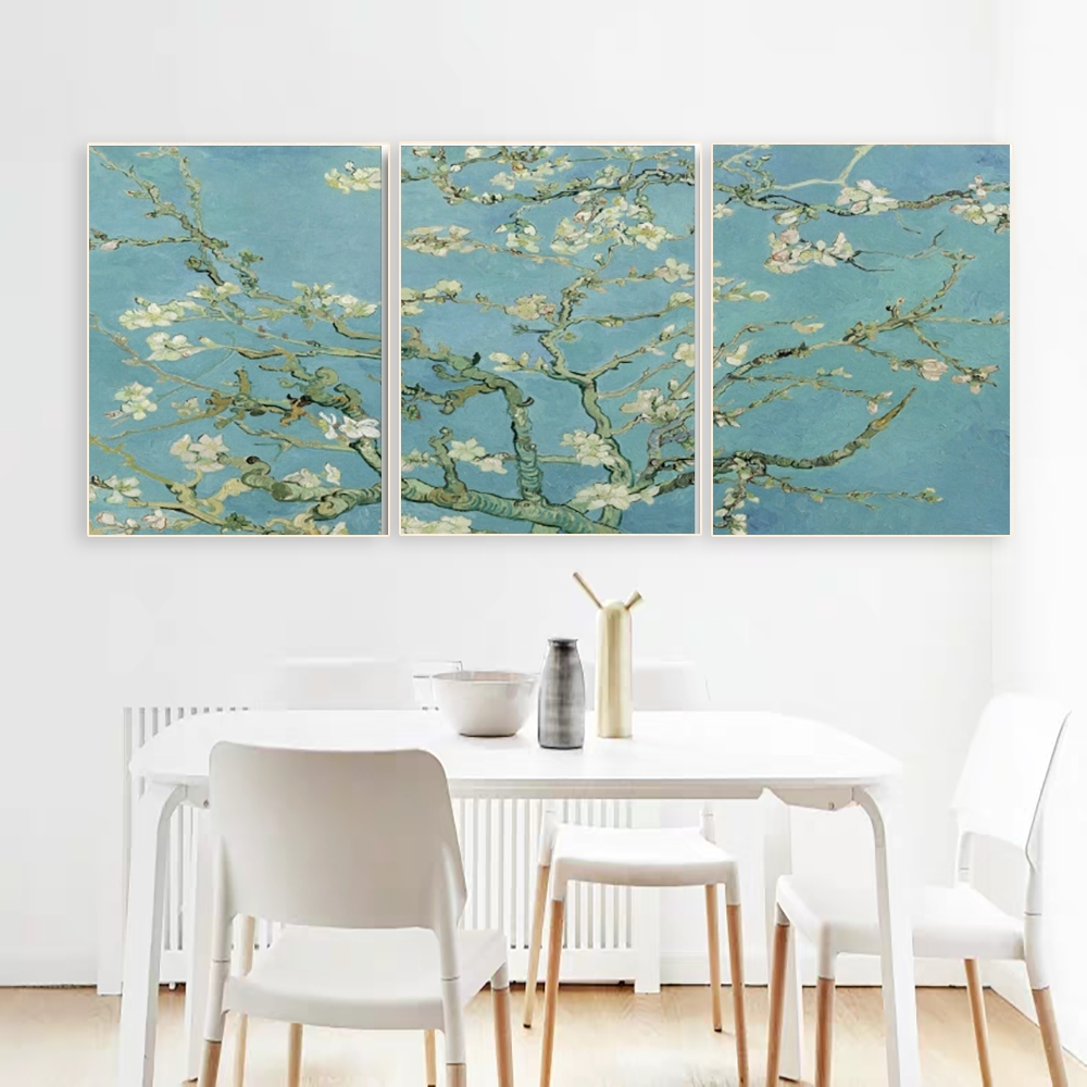 Laeacco 3 Panel Apricot Flower by Vincent Van Gogh Famous Artist Wall Art Print Poster Picture Canvas Painting Decor
