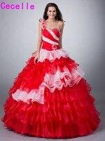 Красный, белый два тона бальное платье Бальные платья с курткой красочные Принцесса Многоуровневое органза корсет сладкий 16 15 Платья для же...