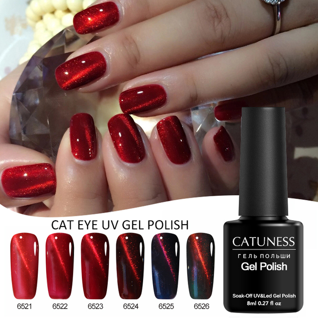 CATUNESS 8 ml קסם אדום אש 3D ג 'ל לכה חתול של העין UV ג' ל לק חצי קבוע משרים כבוי uv מנורת מגנט עבור ג 'ל לכה