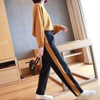 Модный костюм женский 2019 Весна новый свитер женский корейский темперамент трикотажные повседневные брюки из двух частей