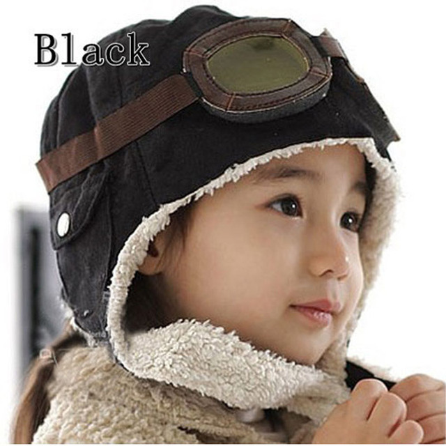 85f8e831e254 Winter Baby Toddler Boy Girl Kids Pilot Aviator Warm Cap Hat Beanie Brown  Black New Hot