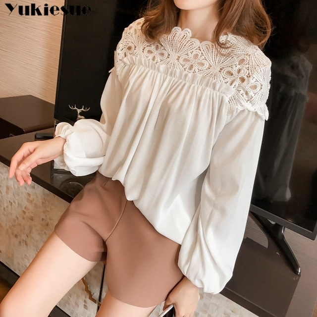 white woman blouses summer women's shirt blouse for women blusas womens tops and blouses lace chiffon shirts ladie's plus size 2