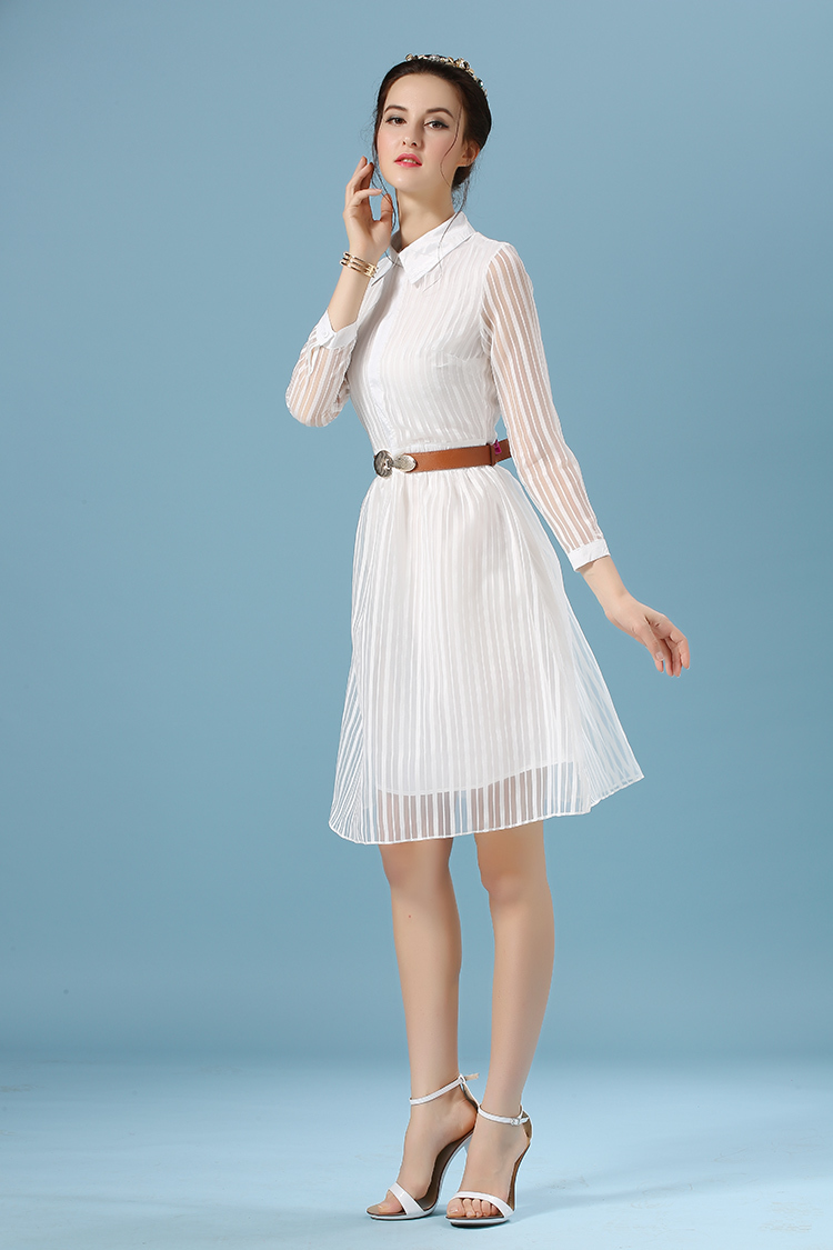 Spring Summer Style Casual Women White Dress Long Sleeve -2868