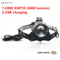 NEW LED Headlamp CREE XHP70 LED Highlight 3000Lumens Promise dimming Large Aluminum Reflector LED Head Lamp Light For Outdoor