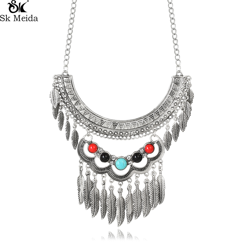 Feather Pendants Geometric Pattern Alloy Resin Necklace