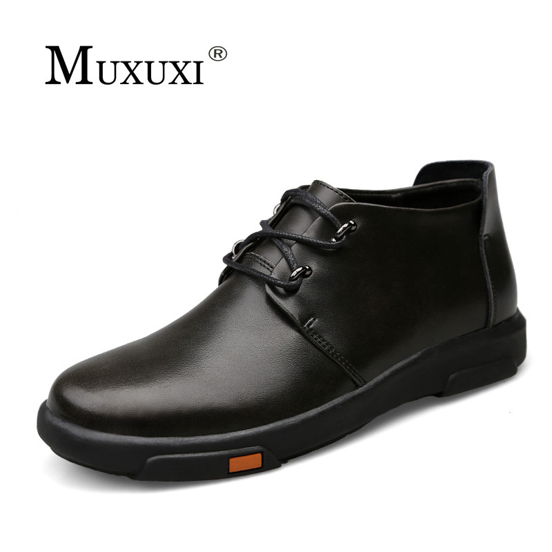 High Quality natural Leather Men Shoes Men snow boots Comfortable Business Casual Shoes for men winter boots Footwear Man Flats