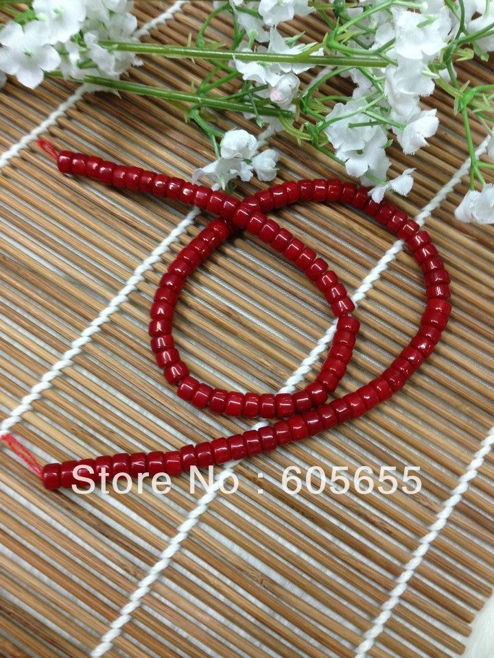 Полудрагоценных каменных пуговиц в форме красного кораллового 4x6 мм Heshi колесных бусин 10 нитей в партии