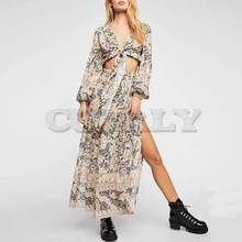 Cuerly 2019 Summer Floral Print 2 piece set tied V-neck dresses slit sides elastic waist boho dress chic beach dress for women