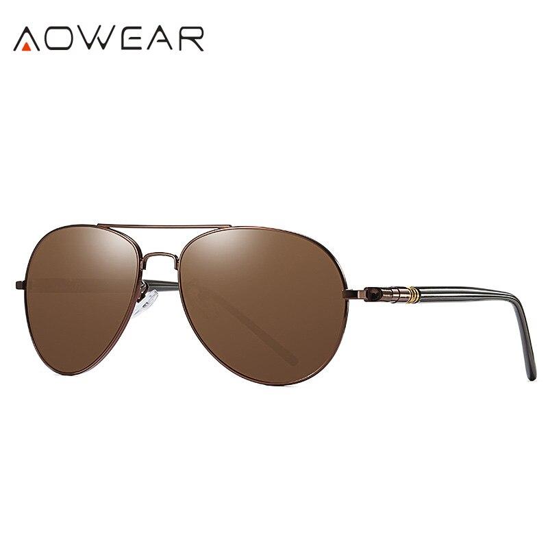 AOWEAR Брендовая Дизайнерская обувь Поляризованные солнечные очки в стиле пилота Для мужчин UV400 вождения очки с зеркальным покрытием линз, солнечные очки с Чехол Gafas De Sol - Цвет линз: C1 Brown