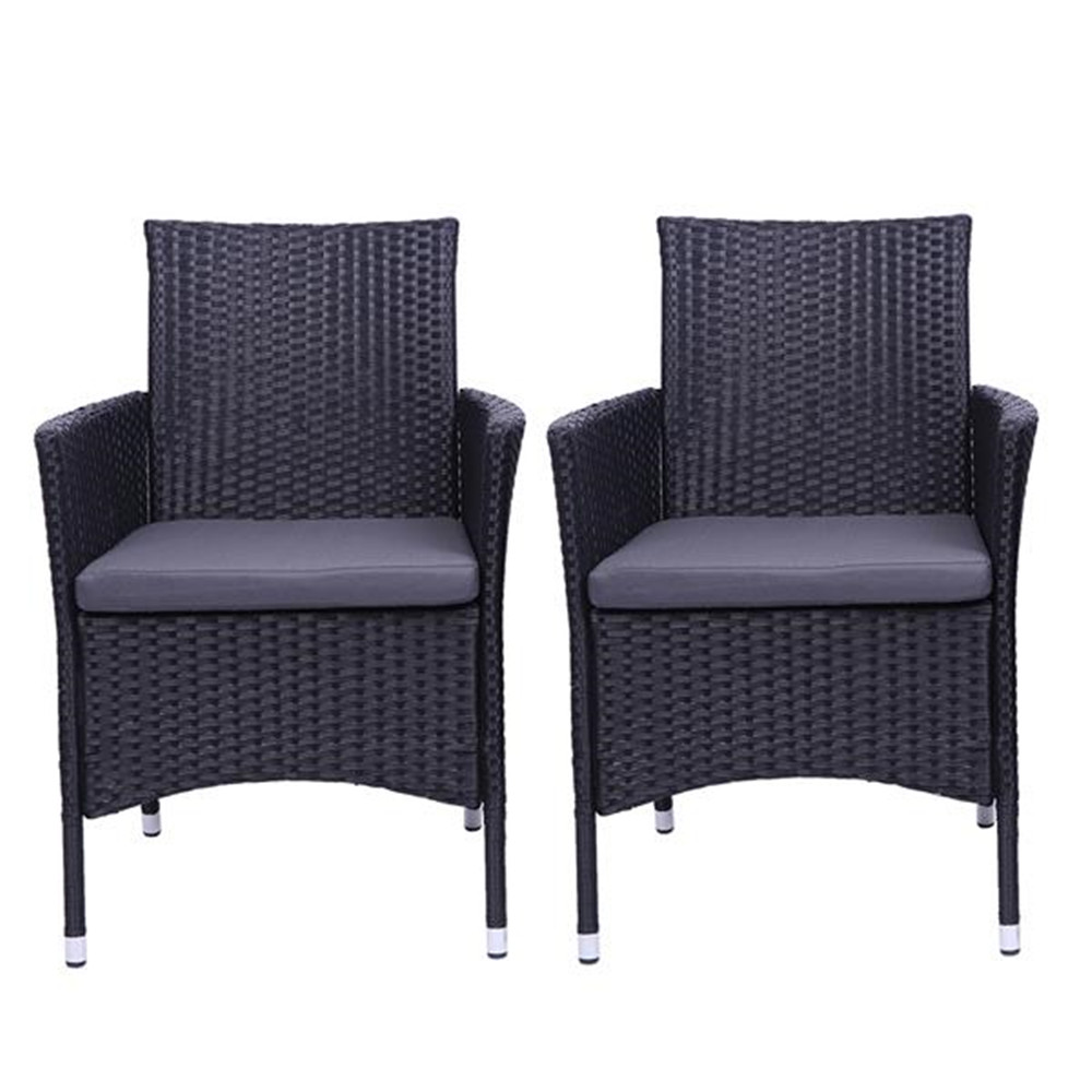 2pcs Single Backrest Chairs Rattan Sofa Set Black Home And Garden Rattan Sofa Back Chair Combination Chairs
