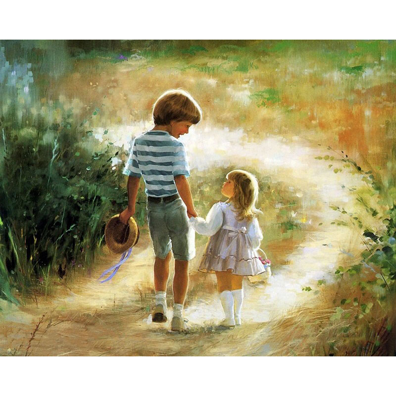 Brother And Sister DIY Digital Paint Number Canvas Art Print Poster Oil Painting Home Living Room