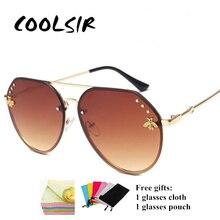 COOLSIR 2019 Vintage Pilot Sunglasses Women Luxury Golden Bee Shades UV400 CCSPACE Brand Glasses Designer Fashion Men Oculos