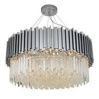 Lustre de cristal moderno cromado  luminária de cristal prateada para sala de jantar  decoração de casa