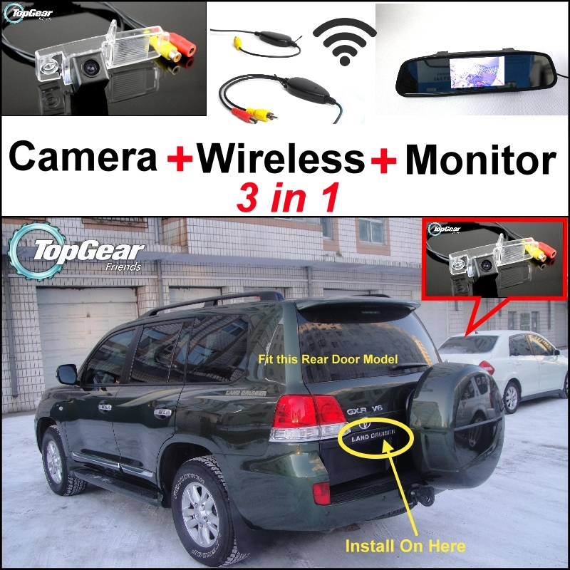 3 in1 Special Camera + Wireless Receiver + Mirror Monitor Easy DIY Back Up Parking System For TOYOTA Land Cruiser J200 V8 wireless pager system 433 92mhz wireless restaurant table buzzer with monitor and watch receiver 3 display 42 call button