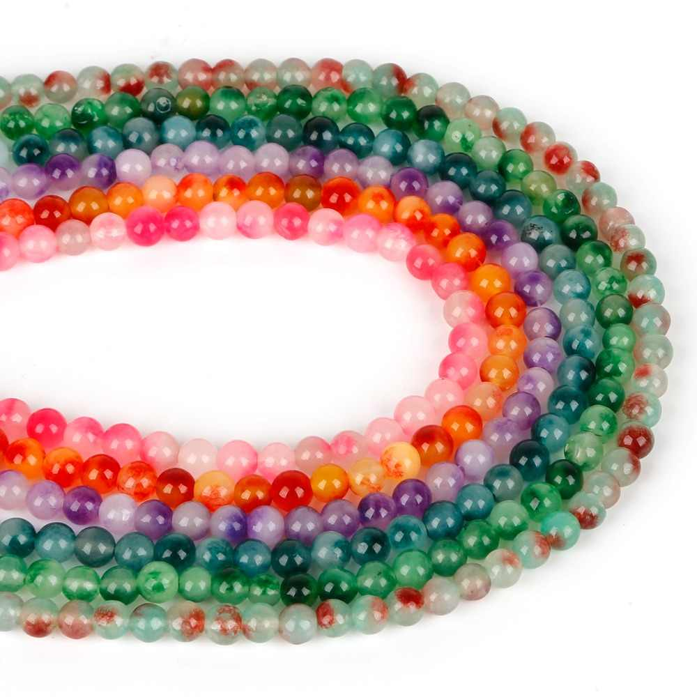6mm/8mm/10mm naturalny kamień Jaded koralik kamień okrągły luźne frezowanie koraliki do tworzenia biżuterii biżuteria DIY bransoletka naszyjnik kolczyk