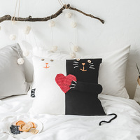 Woolen Knitted Funny Black and White Love Cat Design Cushion Cover Handmade Cotton Woolon Sofa Throw Pillow Cover