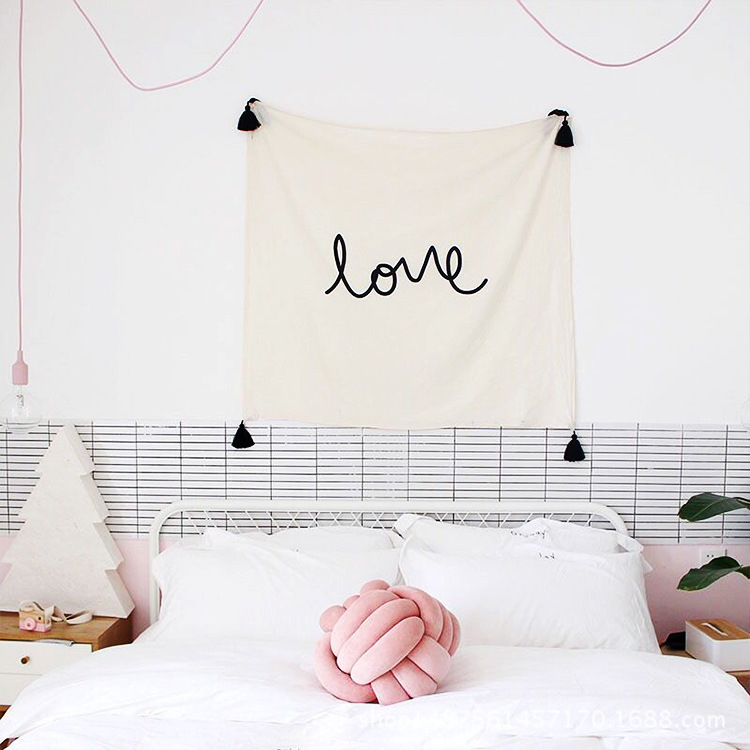2017 INS New Love Tassle Tapestry Home Decorative Wall Hanging Tapestries Nursery Decor Kids Children Table Cloth Wall Art Decor