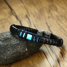 Мужские кожаные браслеты высокого качества черные синего цвета