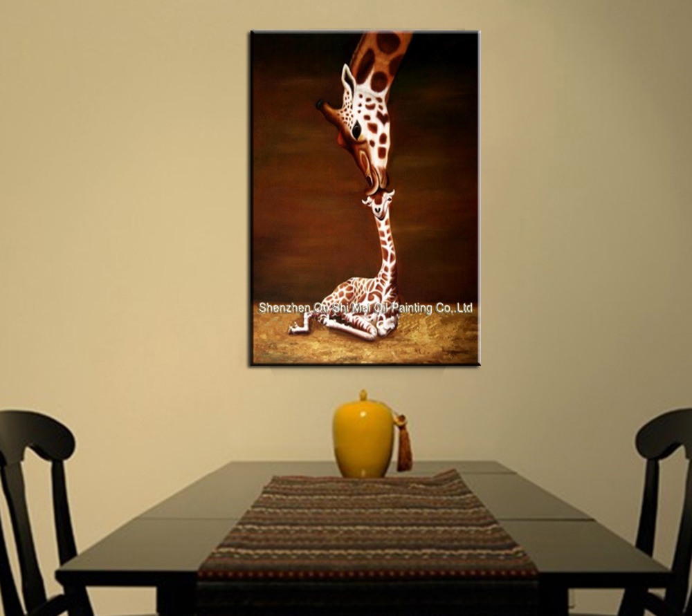 100% Handpainted Oil Paintings Animal Oil Painting on Canvas Giraffe ...