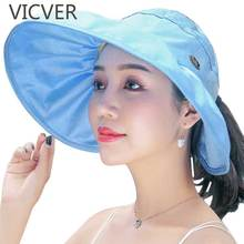 2019 Summer Sun Hats Women Wide Brim Floppy Hat UV Protection Beach Visor Cap Fashion Empty Top Outdoor Caps Solid Color