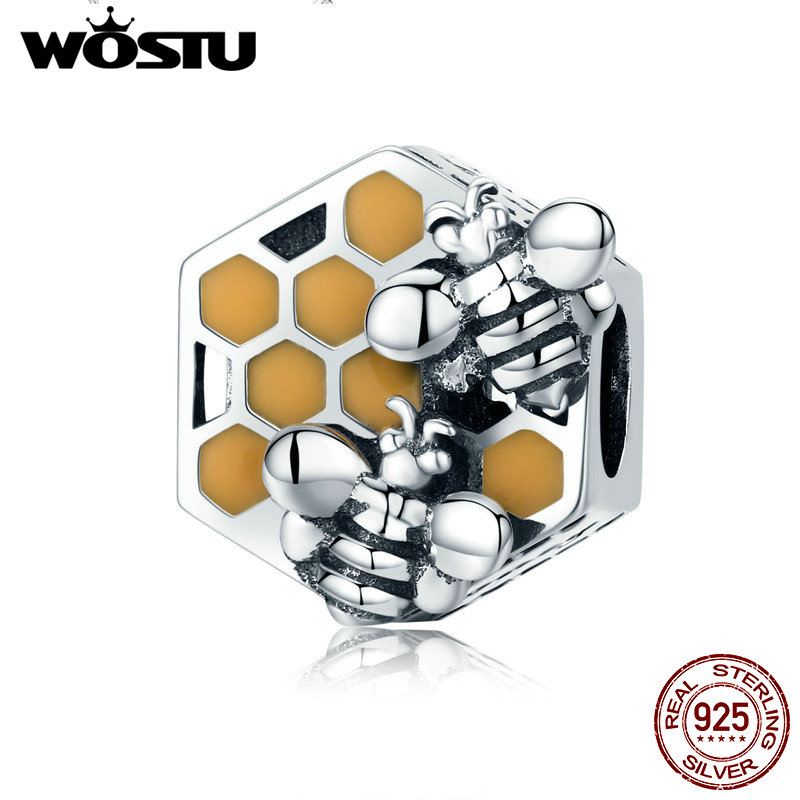 WOSTU New Fashion 925 Sterling Silver Honeycomb Honey Bee Square Charm Beads fit Women Bracelet DIY Jewelry Making FIC500 kaletine honey bee 925 sterling silver bracelets colorful heart luxury love honey comb golden bee jewelry for men women bracelet