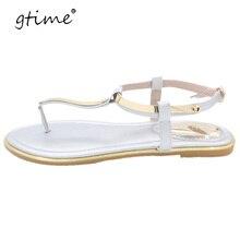 Gtime женские босоножки Летняя Новинка 2017 г. блесток сандалии Сандалии на плоской подошве Femme # ZWB79