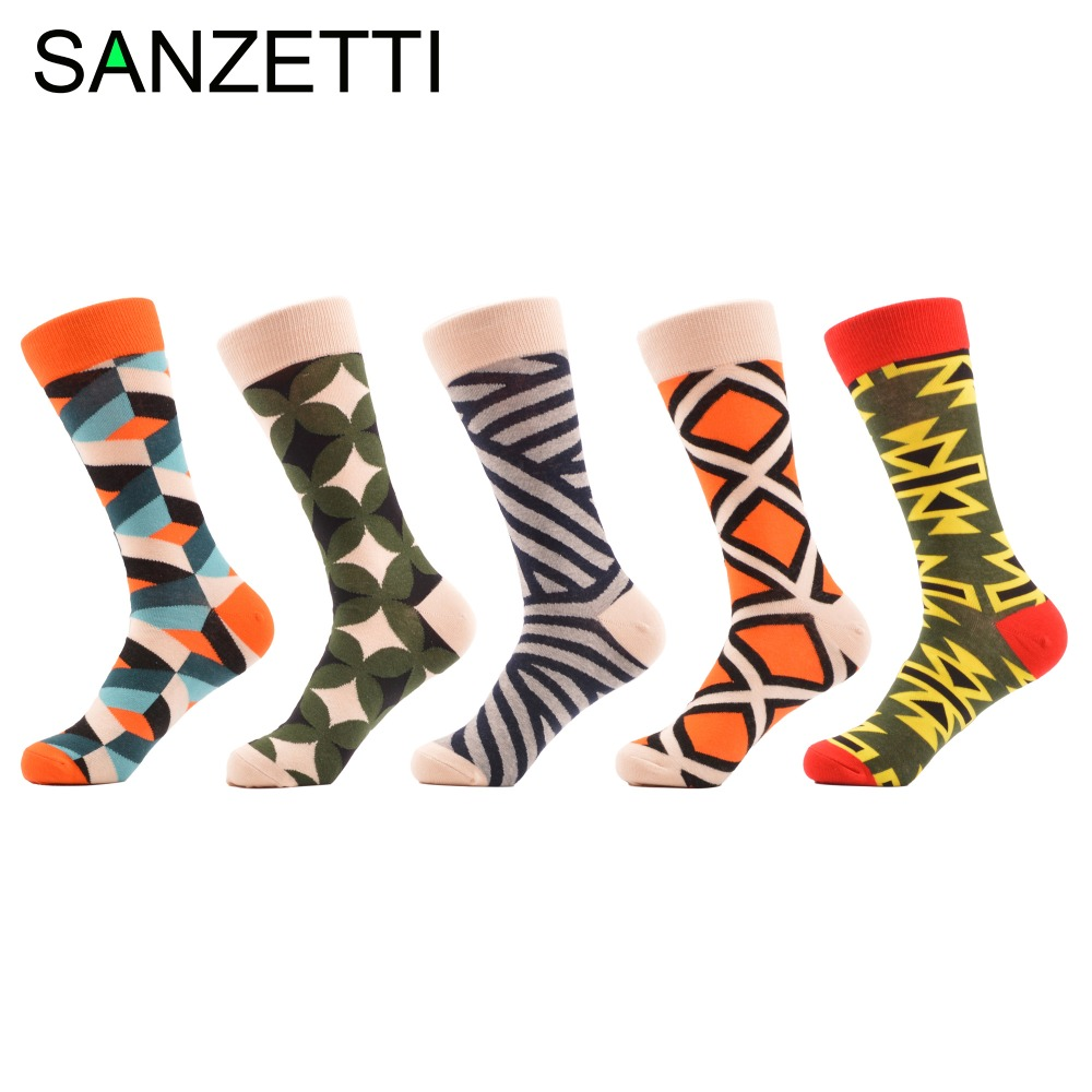 SANZETTI 5 pair/lot Mens Funny Colorful Combed Cotton Socks Geometry Style Dress Casual Crew Socks for Man