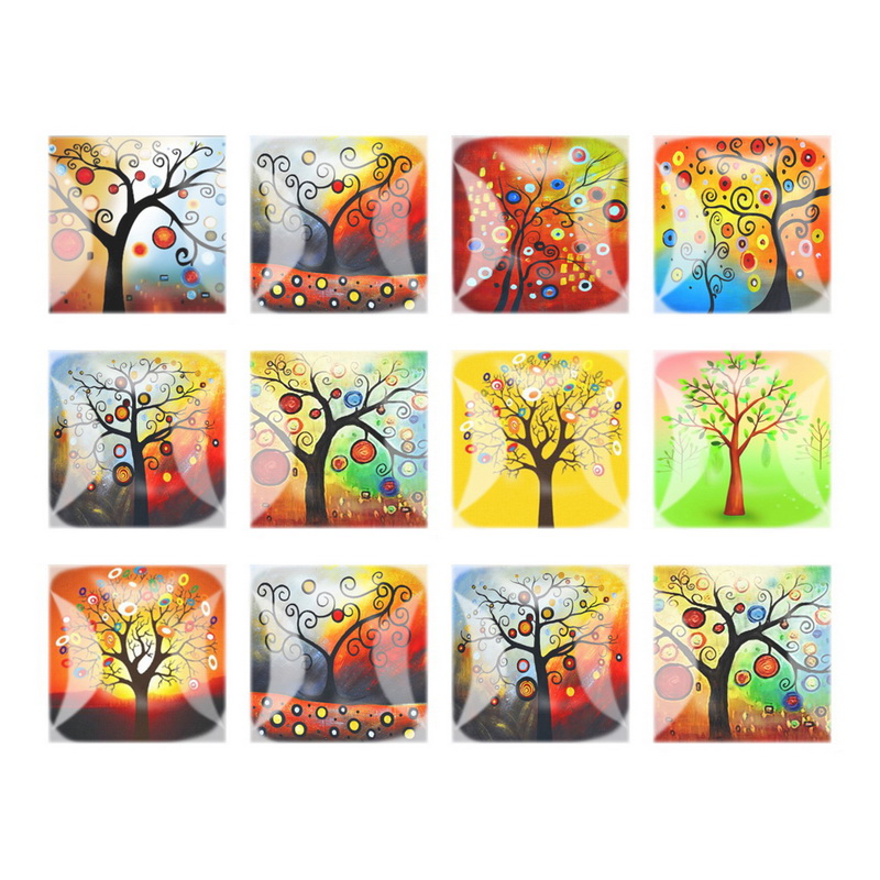 Flatback Square Mix Style Trees Print Photo Glass Cabochon 12mm 20mm 25mm DIY Pendants Bracelets Components For DIY