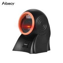 Aibecy desktop scanner de código de barras 1d 2d qr hands free com cabo usb omni direcional leitor de código de barras de digitalização ajustável