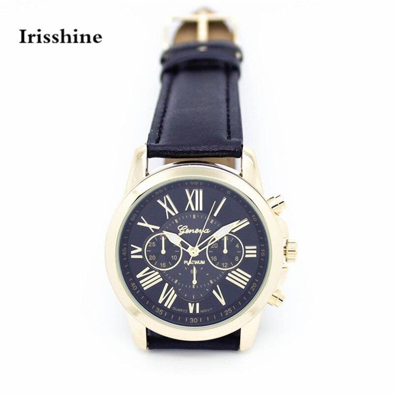 Irisshine #1136 женщин смотреть Новые женские Моды Римские цифры Искусственной Кожи Аналоговый Кварцевые Наручные Часы