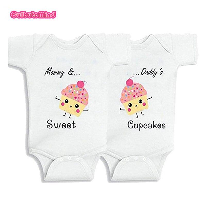 Culbutomind जुड़वां बच्चे कपड़े जुड़वां लड़की कपड़े कार्बनिक कपास प्यारा शिशु बेबी जंपसूट मीठा कप केक (0-12 महीने)